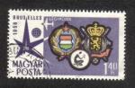 de Europa - Hungría -  Exposición Mundial de Bruselas, Armas de Hungría y Bélgica, logotipo de la exposición