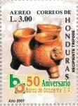 Stamps : America : Honduras :  L Aniv. Banco Occidente. Cerámica maya