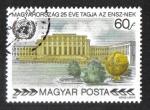Stamps : Europe : Hungary :  Membresía de las Naciones Unidas (Naciones Unidas), 25 ° aniversario, Palacio de las Naciones, Gineb