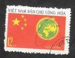 de Asia - Vietnam -  706 - Lanzamiento de un satélite por China, Bandera