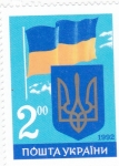 Stamps : Europe : Ukraine :  ESCUDO Y BANDERA