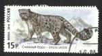 Sellos del Mundo : Europa : Rusia : Fauna de Rusia. Gatos salvajes, Leopardo de las nieves (Panthera uncia)
