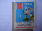 Sellos de America - Colombia -  XXXIX Congreso Eucarístico Internacional, Bogotá - Manos del Sacerdote y Emblema del Congreso.