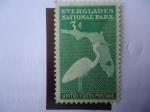 Stamps Spain -  Gran Garza Blanca - Mapa de Evenglades National Park-Florida