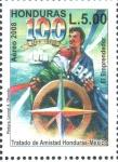 Stamps : America : Honduras :  100th  TRATADO  DE  AMISTAD  HONDURAS-MÉXICO.  MARINERO  Y  BARCO.