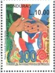 Stamps : America : Honduras :  100th  TRATADO  DE  AMISTAD  HONDURAS-MÉXICO.  MANOS, BANDERA  Y  MAPA.