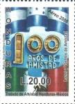 Stamps : America : Honduras :  100th  TRATADO  DE  AMISTAD  HONDURAS-MÉXICO.  BANDERAS  DE  MÉXICO  Y  HONDURAS.