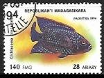 Stamps Madagascar -  Jack Dempsey Cichlid