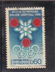 Sellos de Europa - Francia -  JUEGOS OLIMPICOS GRENOBLE -68