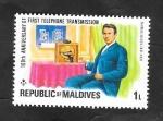 Stamps : Asia : Maldives :  600 - Centº de la primera línea telefónica, Thomas Edison