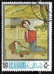 Sellos de Asia - Emiratos Árabes Unidos -  Virgen Maria adorando al Niño Jesus  pintura
