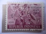 Stamps Indonesia -  Kopi ó Café de Civeta-Fondo para Alivio de Inundaciones -(Bentjana Alam 1961)