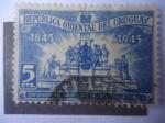 Stamps : America : Uruguay :  Monumento del Escritor, José Pedro Varela (1845-1879) Centenario de su Nacimiento (1845.1945)