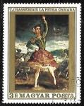 sello : Europa : Hungría : La Petra Camara by Théodore Chassériau