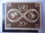 Stamps America - ONU -  Naciones Unidas - Unidad Mundial - Globo terrestre- Símbolo.