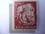 Stamps of the world : Romania :  Industria de la Construcción - Obrero.
