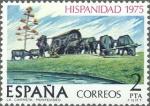 Stamps Spain -  ESPAÑA 1975 2294 Sello Nuevos Hispanidad Uruguay La Carreta Obra de Belloni