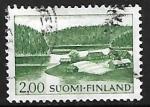Stamps : Europe : Finland :  Granja en el lago