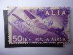 Stamps : Europe : Italy :  Apretón de manos - Avión Caproni-Campini N.1