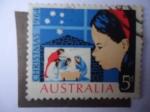 Stamps : Oceania : Australia :  Navidad 1964 - Niña mirando la escena Navideña