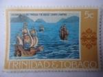 Stamps : America : Trinidad_y_Tobago :  Cristóbal Colón navegando las Bocas - Las tres Calaveras.