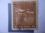 Stamps Chile -  Avión Bimotor - Arco Iris - Mar - Correo Aéreo Tipio 1934