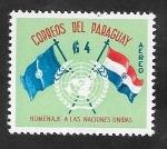 Stamps : America : Paraguay :  265 - 15 Anivº de Naciones Unidas, Banderas de la ONU y Paraguay