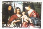 Stamps : America : Guyana :  NAVIDAD-88 Tiziano