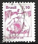 Stamps : America : Brazil :  Profesiones - Colhedora de uva