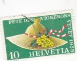 sello : Europa : Suiza : FIESTA DE LOS ENÓLOGOS-VEVEY 1955