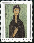 "Stamps : Europe : France :  ""Mujer de Ojos Azules"" A. Modigliani"