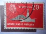 Stamps of the world : Netherlands Antilles :  Obelisco del Almirante Michel De Ruyter (1607/76) Islas de San Eustaquio
