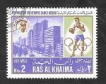 Stamps Asia - United Arab Emirates -  Ras Al Khaima - 7 - Preolimpiadas de Mexico 70, boxeo