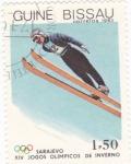 Sellos del Mundo : Africa : Guinea_Bissau : OLIMPIADA DE SARAJEVO-salto de esquí