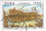 Stamps : America : Cuba :  CONSTRUCCIÓN NAVAL EN CUBA 1749