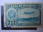 Sellos de America - Venezuela -  La Guaira - Capital del Estado Vargas - Avión sobre la Ciudad.