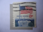 Stamps : America : United_States :  United States- Casa Blanca-Bandera.