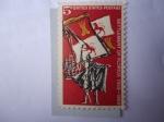 Sellos de America - Estados Unidos -  Asentamiento de la Florida.400 Aniversario (1565-1965) Explorador Español-Bandera Real de España-Bar