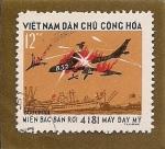 Sellos de Asia - Vietnam -  aviones en combate