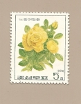 Stamps North Korea -  Flores - Rosa amarilla