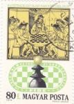 Stamps : Europe : Hungary :  ilustración partida de ajedrez