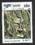 Sellos del Mundo : Asia : Camboya : Cultura de los jemeres, cabeza de Buda