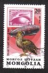 Stamps : Asia : Mongolia :  Vuelo polar de Graf Zeppelin, 50 aniversario. Águila pescadora (Pandion haliaetus)