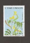 sellos de Africa - Santo Tomé y Principe -  Flor Cassia