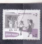 sellos de Asia - Nepal -  escolarización