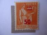 Stamps of the world : France :  Sobreimpresión de Paz - Alegoría de la Paz.