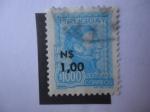 Stamps of the world : Uruguay :  General José Gervasio Artigas (1764-1850)- Sello sobreimpreso