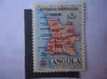 Stamps : Africa : Angola :  Mapa de Angola - República portuguesa.