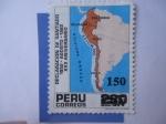 Stamps Peru -  Declaración de Santiago 1952-Agosto-1982 - 30° Aniversario-Estampilla Sobre Estampada.