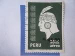 Sellos del Mundo : America : Perú :  Cabeza Inca -( Estampilla habilitada)